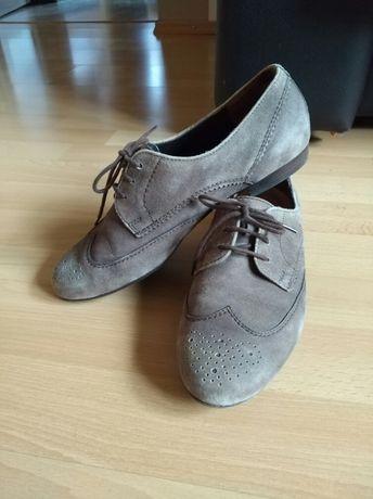 Buty skórzane Paul Green r. 37 grafitowe, półbuty damskie skóra