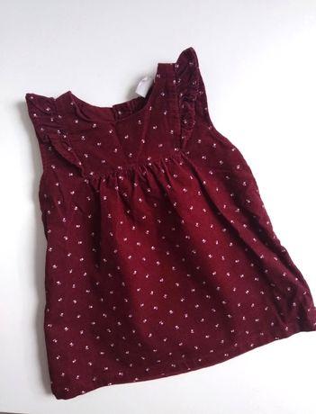 Bordowa, Sztruksowa sukienka H&M 68r
