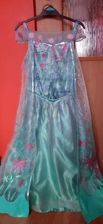 Elza z krainy lodu Disney strój karnawałowy 134-140 lat oryginał