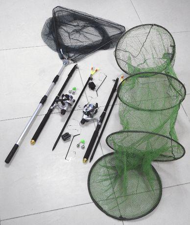 Спиннинги с катушками в сборе, Рыболовный комплект + садок, подсак