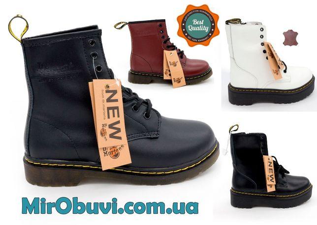 Зимние черные женские кожаные ботинки с мехом в стиле Dr. Martens
