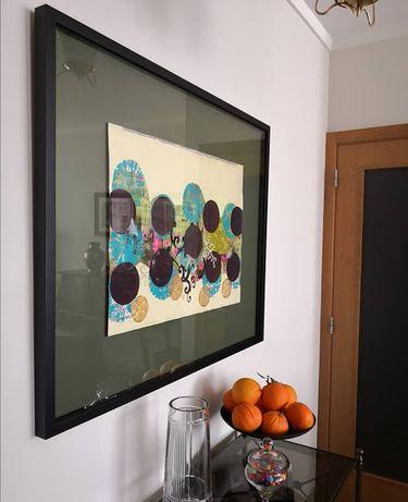 Quadro com pintura em técnica mista da artista plástica Ana Pimentel
