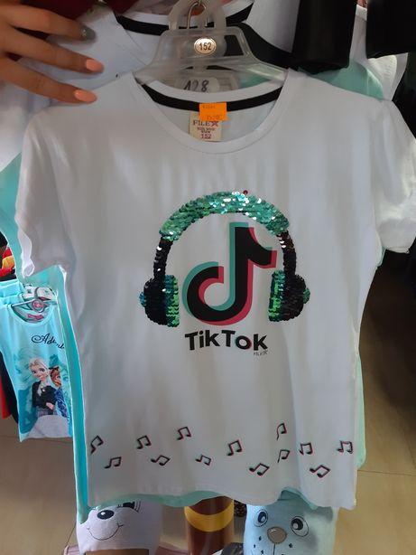 Cała rozmiarówka Bluzki koszulki TikTok biała różowa niebieska