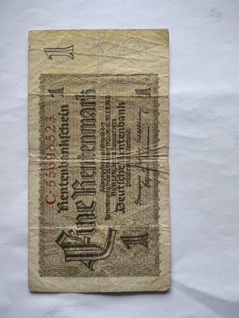 Банкнота 1 рентмарка в хорошем состоянии. 1937 год. Германия