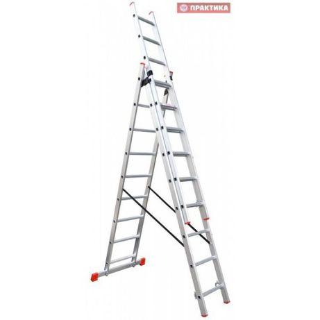 Лестница алюминиевая трехсекционная 3х10, 3х12 ПРАКТИКА УКРАИНА