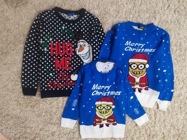 Новогодняя, кофта, свитер,синяя, Миньоны, новорічна,олаф, фемели лук