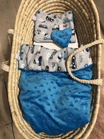 Komplet minky do wózka, kosza, łóżeczka - kołderka i poduszka