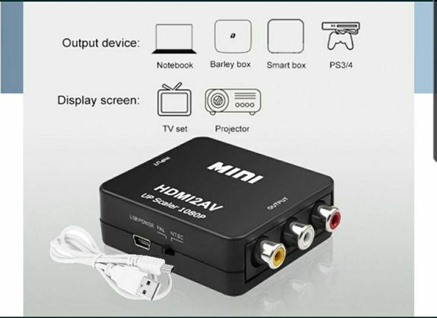 Адаптер Конвертер HDMI to AV RCA тюльпаны HDMI2AV
