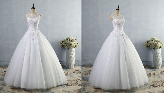 Sprzedam suknię ślubną NOWA suknia ślubna L 40 XL 42 biała koronka