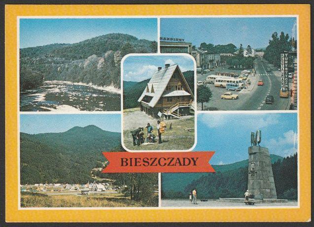 pocztówka - Bieszczady 1985 - mozaika - Lesko , San , uSTRZYKI