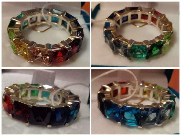 Кольцо Радуга серебро цирконы размер 16 серебряное кольцо