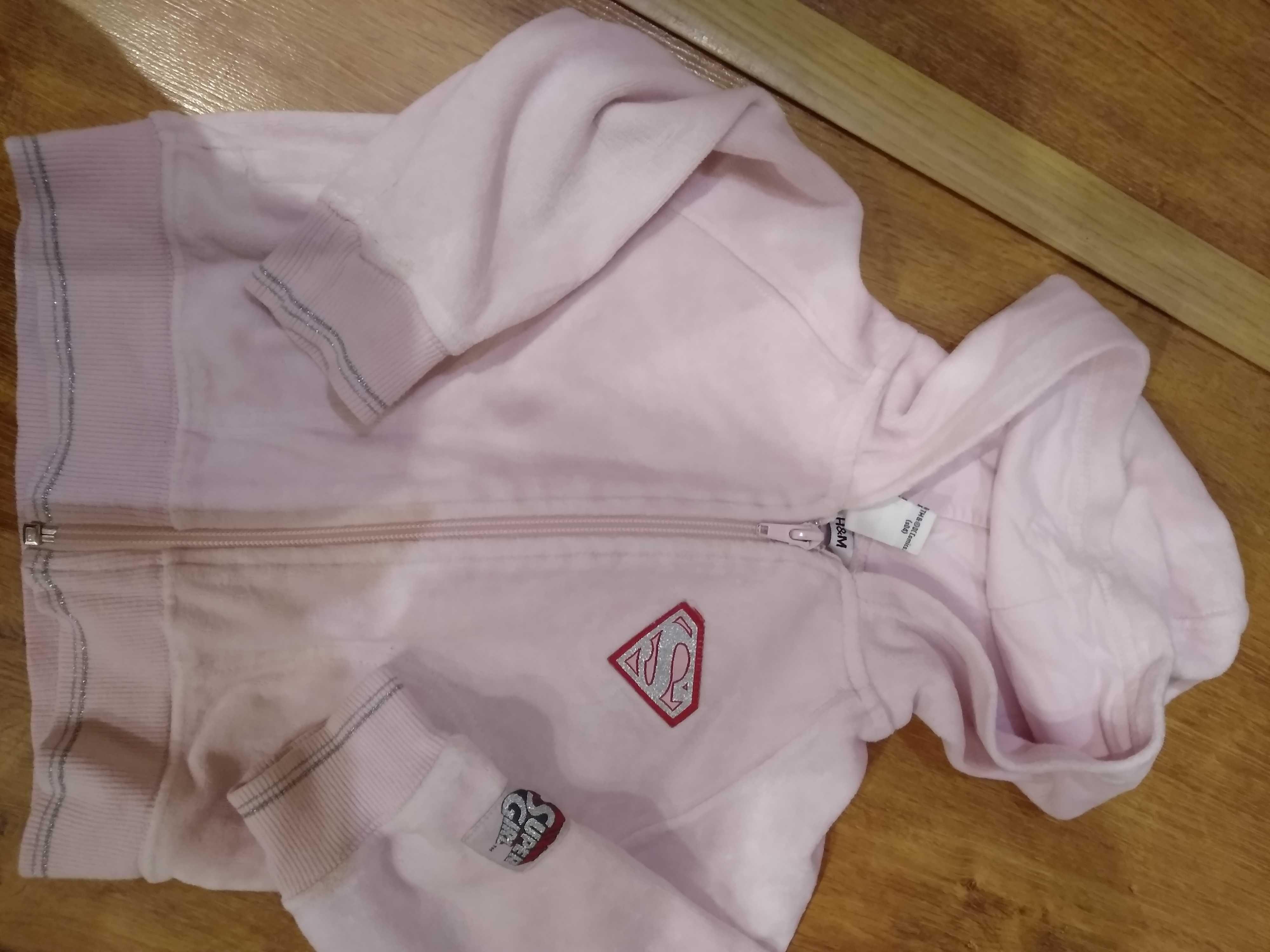 Bluza pudrowy róż 80/86 H&M dziewczynka polar spider man
