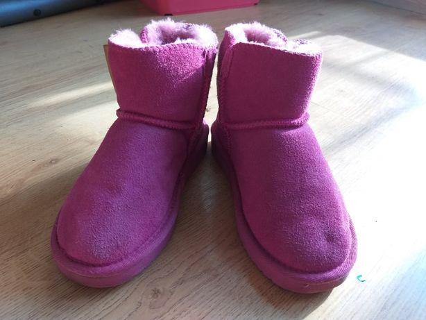buty botkia w stylu emu rozm 30 zamsz wełna 18-19cm stan bdb różowe