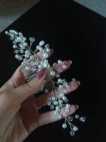 Stroik ozdoba do włosów i kolczyki perły grzebyk na ślub