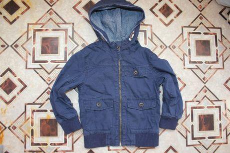 Куртка ветровка на 3-4 года мальчику синяя с капюшоном