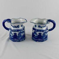 Par de jarros Porcelana, decoração Pagodes a azul e branco