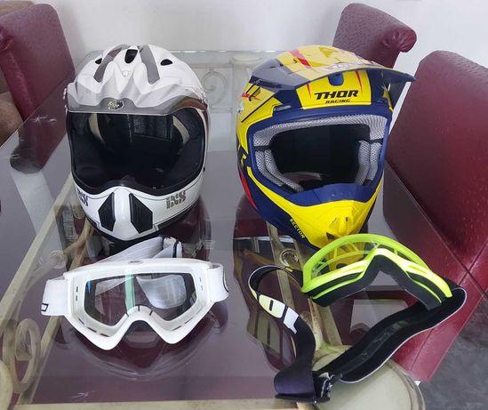 Capacetes, óculos e fato completo motocross + calças
