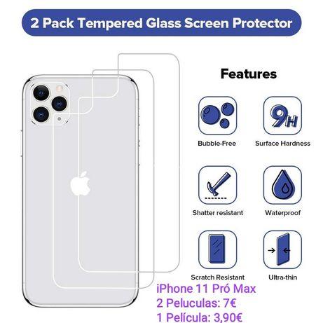 2 Películas Vidro Temperado Traseiras P/ iPhone 11 Pró Max - PROMOÇÃO