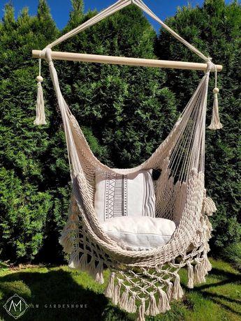 Krzesło brazylijskie bawełniane, wiszące plecione XXL BOHO-MAKRAMA