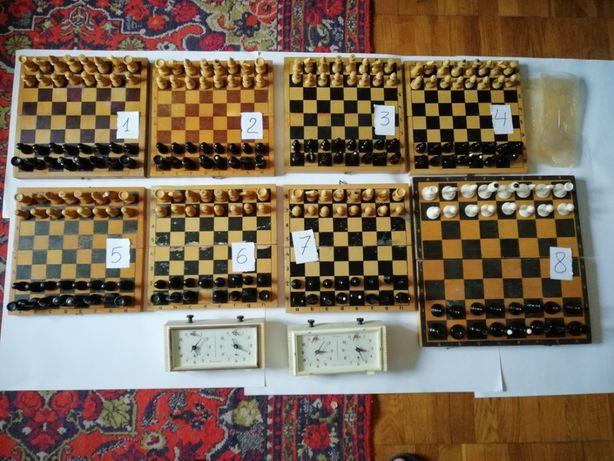Набор шахматы деревянные часы шахматные СССР