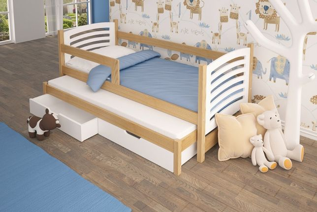 Łóżko podwójne OLEK z barierką i materacami gratis HIT