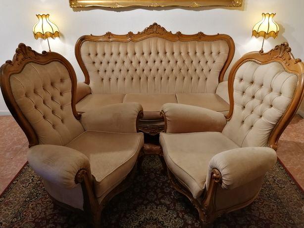 Terno antigo conjunto Sofá Canapé Poltronas Cadeirões Bergères Luís XV