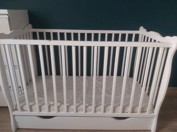 łóżeczko łóżko 2w1 dla dziecka z szufladom i materacem regulowane