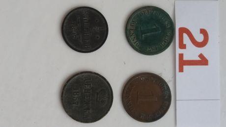 **P (21)1/2 kopiejki 1897,dienezka 1857,pfennig 1874 zestaw monet