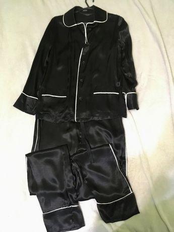 Костюм чёрный атлас в пижам стиле vero moda