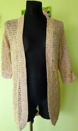 SAVOIR złoty blezer luźny sweter 38-40