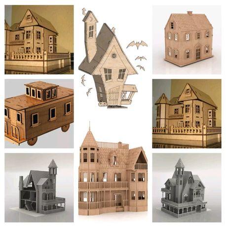 100 Vectores de casas de bonecas para formatos de corte CNC ou a laser