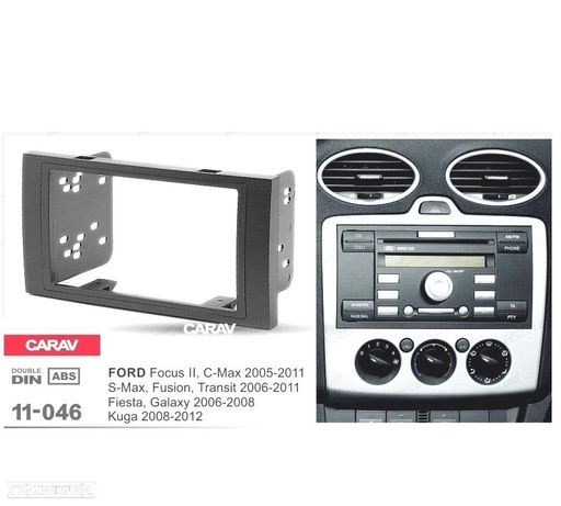 MOLDURA / ADAPTADOR PRETO PARA RADIO 2-DIN FORD FOCUS C-MAX S-MAX FUSION TRANSIT FIESTA, GALAXY KUGA