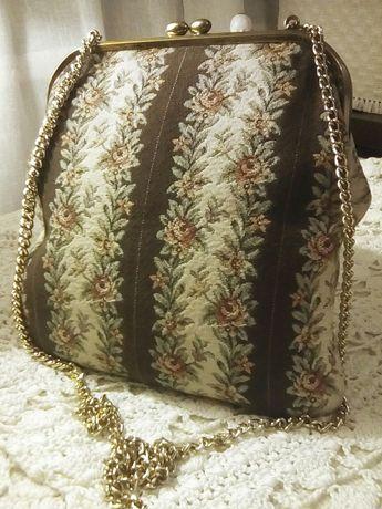 Vintage torebka, oryginał . Wzór secesja, róże na gobelinie w platynie