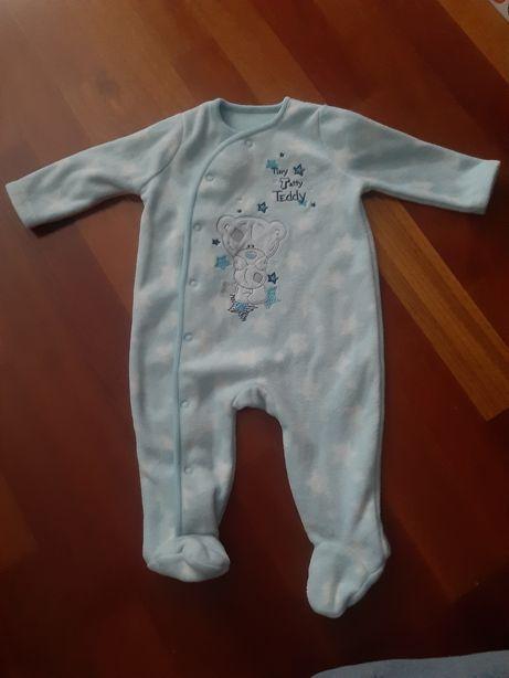 Tiny teddy pajac piżamka piżama pajac r 62 68 ciepły polar mis gwiazdy