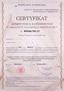 Użyczę Certyfikat Kompetencji Zawodowych + praca w transporcie drogowy