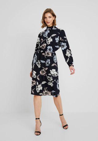 Nowa sukienka koszulowa granatowa w kwiaty stójka elegancka 42 XL