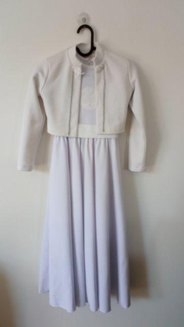Sukienka komunijna 130-134 cm z bolerkiem gratis rękawiczki+worek