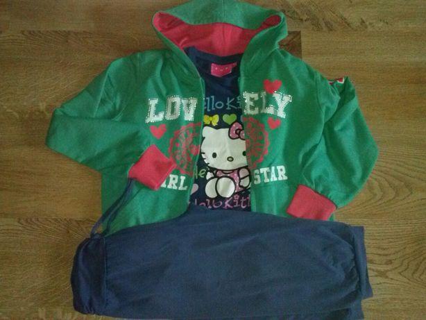 Komplet długi rękaw Hello Kitty+bluza+spodnie na 134cm.