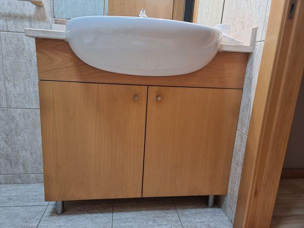 Móvel Casa de Banho / WC com Lavatório ROCA / Espelho Luzes Estante