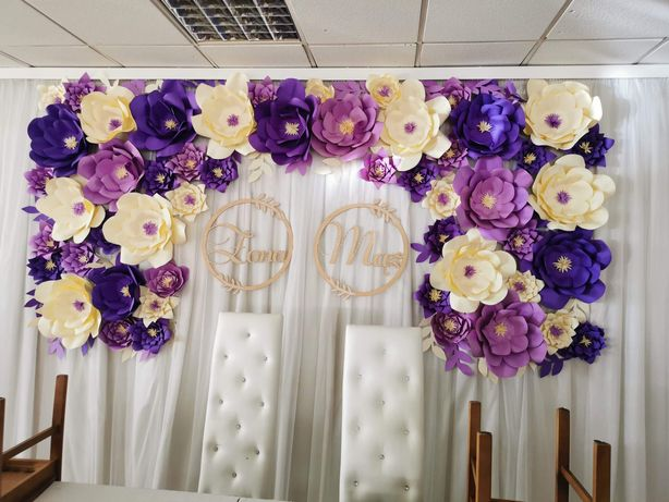 Dekoracja sali Ścianka na wesele/Ślub Kwiaty + mąż + żona
