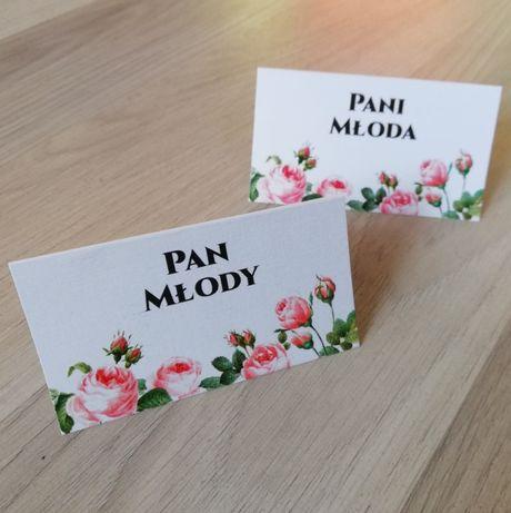 Winietki na stoły weselne z motywem róż