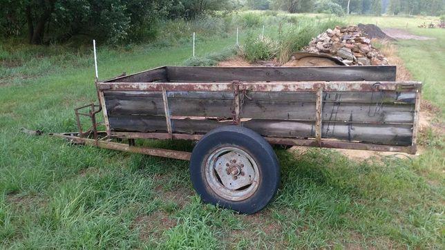 Przyczepa jednoosiowa, kiper wywrot, do traktora, dzika, hamulec