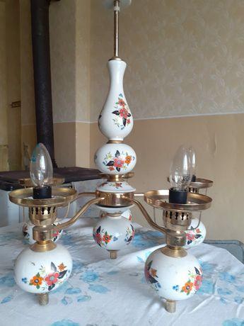 Lampa PRL / żyrandol/ ceramika / złoto