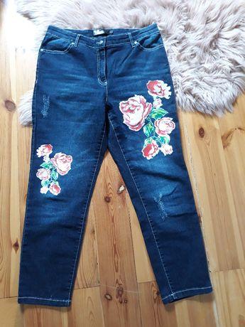 B.P.C jeansy damskie granatowe kwiaty 40