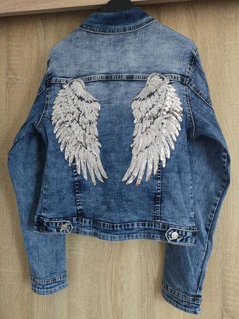 Kurtka katana jeans damska ze skrzydłami na plecach rozmiary XS do XL