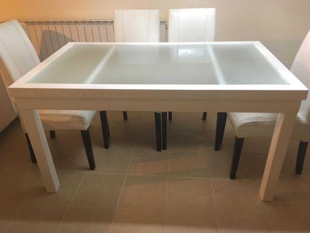 Mesa sala com vidro extensivel