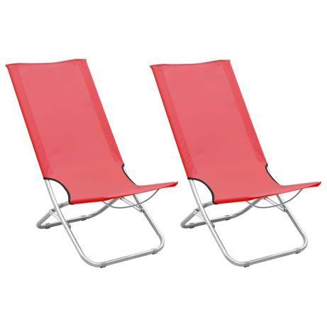 vidaXL Cadeiras de praia dobráveis 2 pcs tecido vermelho 310376