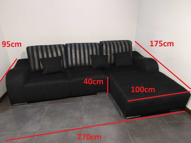 Novo Sofá chaise longue +2 puffs