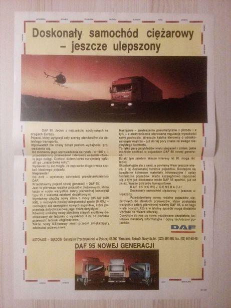 Plakat Poster DAF 95 ATi 33cm x 47cm Samochody Ciężarowe Reklama PL
