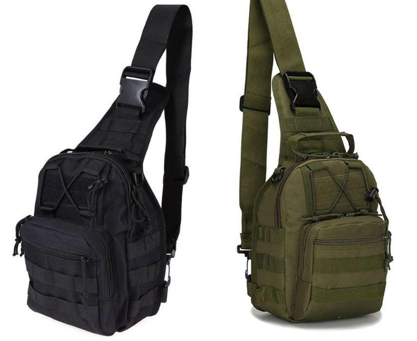 Рюкзак на одно плечо, черный и олива 28х22х14 см